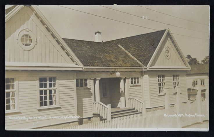 Postkort. Kommunelokalet på Kråkerøy. Påskrift 1911 Utg. Anton Olsen