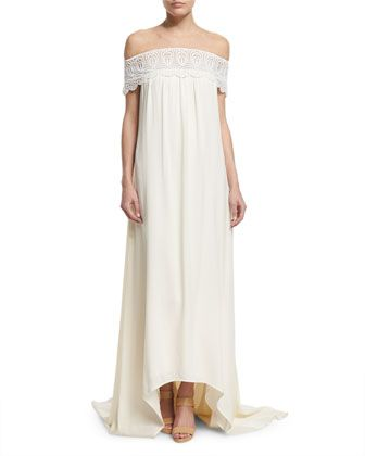 Off-the-Shoulder+Chiffon+Lace-Trim+Gown,+Off+White+by+Self+Portrait+at+Neiman+Marcus.
