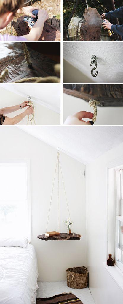 DIY hanging bedside table. Beautiful!