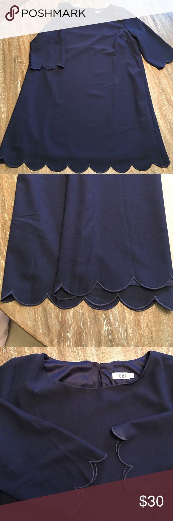 Navy Mini Dress Gorgeous Navy dress with scalloped detailing! Tobi Dresses Mini