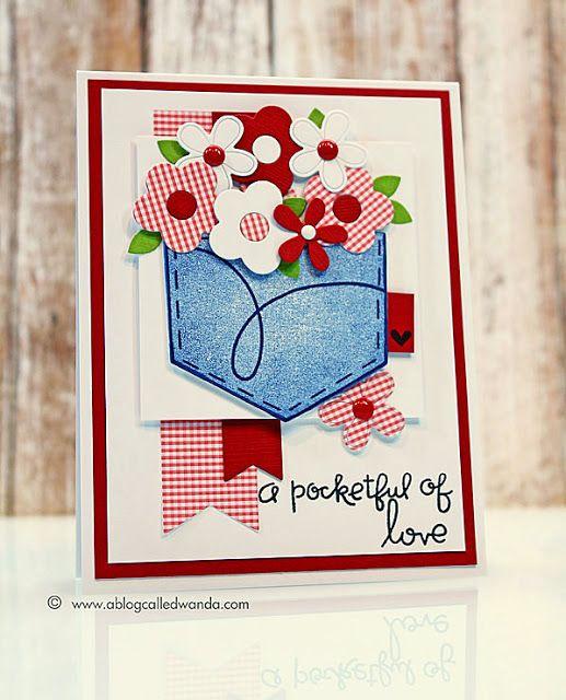 A Pocketful of Love card by Wanda Guess - Paper Smooches - Denim & Daisies, Pocket Dies