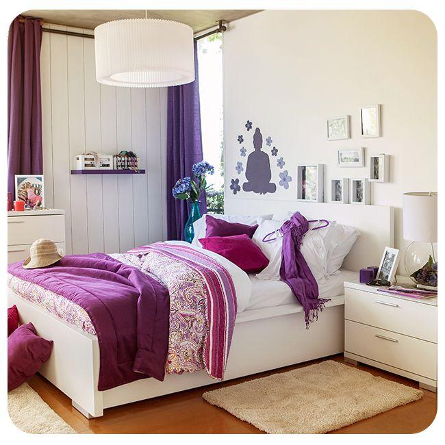 #Violeta #Dormitorio #BedRoom #White #Bed #Blanco #Cama #Purple #Ideas #Inspiration