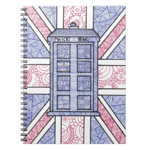 Perfect for back to school! A Doctor Who TARDIS inspired notebook featuring an original hand-drawn illustration, complete with Union Jack UK flag!