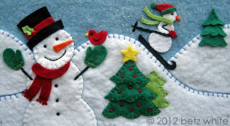 Betz white: one stitch leads to another ( embroidery felt snowman sledding Christmas trees winter scene