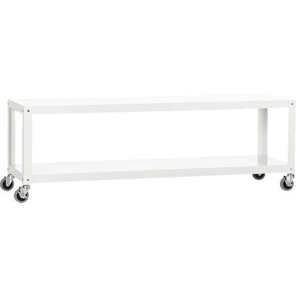Industrial Tv Stand And Coffee Table: CB2 Go-Cart White Rolling Tv Stand/Coffee Table ($169