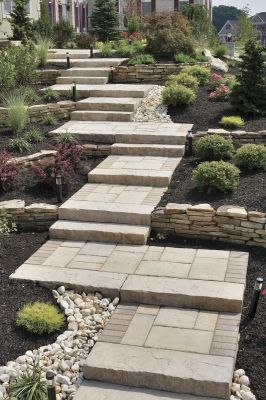 Landscape Plus - Bucks County - As a walkway builder and patio                   builder, Landscape Plus L                  LC installs custom front walkways with steps.        Walkway