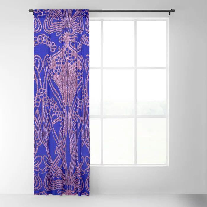Royal Blue,Art Nouveau Pattern,royal Purple, Floral