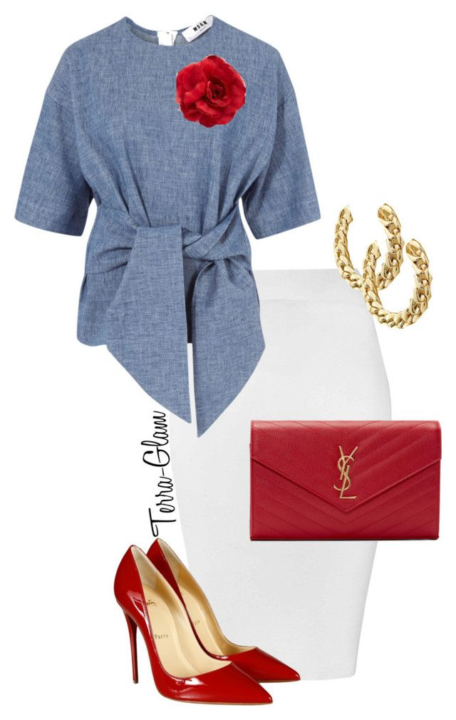"""Rumble In Red"" by terra-glam ❤ liked on Polyvore featuring Glamorous, MSGM, Yves Saint Laurent, Christian Louboutin and Cara"