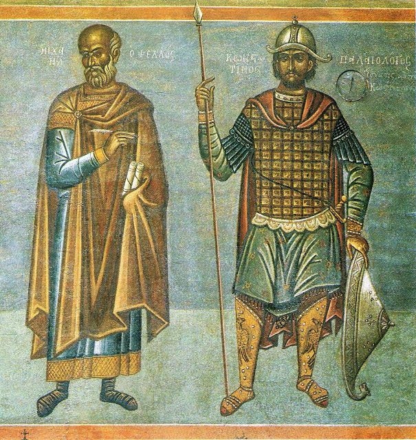 Μιχαήλ Ψελλός, Κωνσταντίνος Παλαιολόγος  Δημαρχείο Αθήνας τμήμα τοιχογραφίας