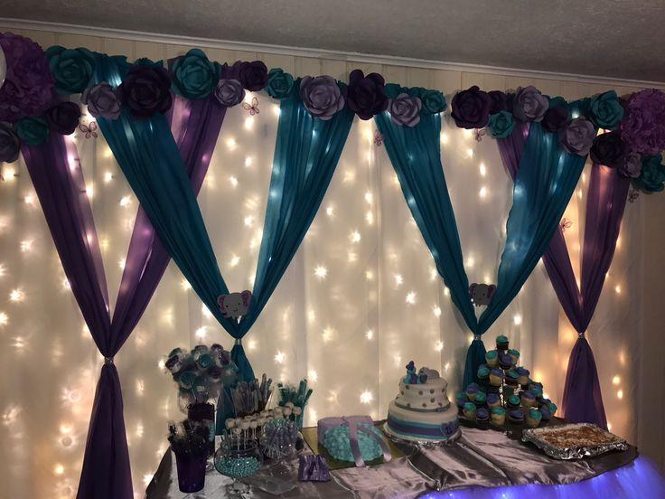 Purple and Teal Baby Shower Decor