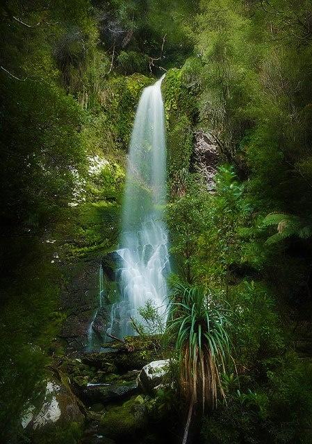 Waterfall on the Franklin River, Tasmania by Wolfgang Glowacki