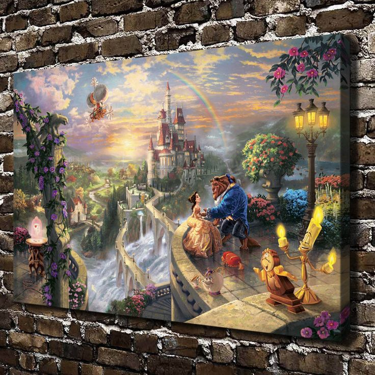 H1135 Thomas Kinkade Beauty and the Beast, HD Canvas Print Home decoration Living Room Bedroom Wall pictures Art  painting