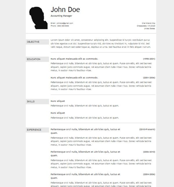 The  Best Resume Templates Free Download Ideas On