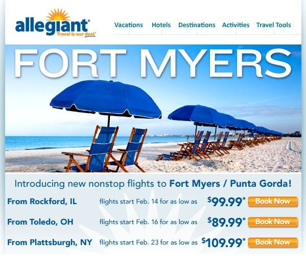 Allegiant Air introduces new low priced non-stop flights directly into Punta Gorda/Port Charlotte Area