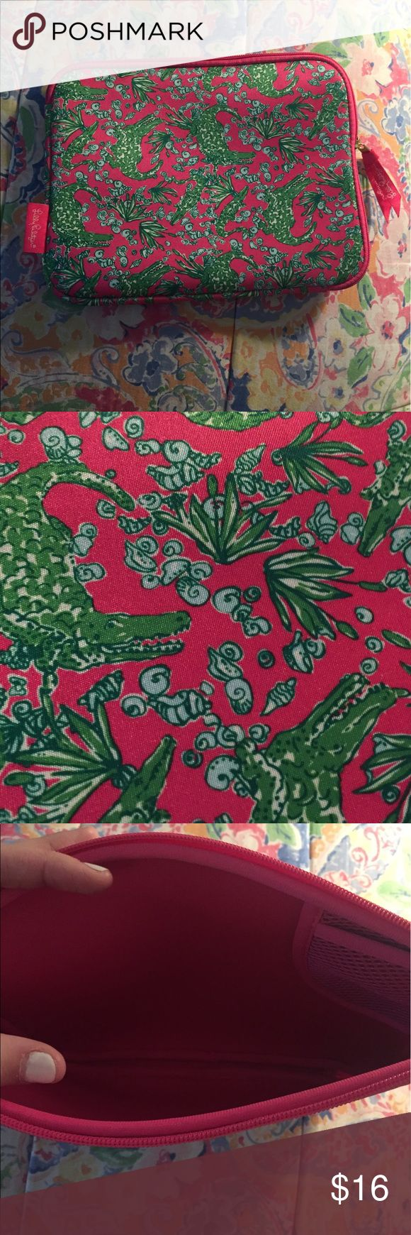 """Lilly Pulitzer IPad Sleeve Brand new, never used. This is in the pattern, See you Later. Fits iPad 2 and 3 I believe. Durable Neoprene Material, 10.2x8"""" Open to possibly negotiate price! Lilly Pulitzer Accessories Laptop Cases"""