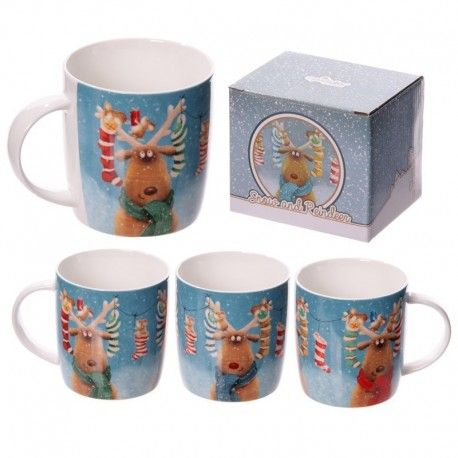 Mug en porcelaine - Rennes de Noël