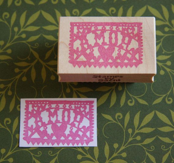 Hand Carved Mounted Amor Stamp of Papel Picado by StampsbySachi, $37.00