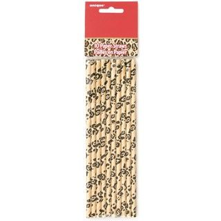 Cheetah Animal Print Classic Retro Paper Party Straws - 10 Pack