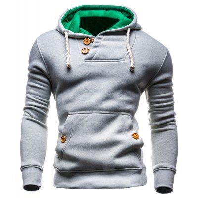 IZZUMI Hooded Long Sleeves Hoodie For Men - L LIGHT GRAY