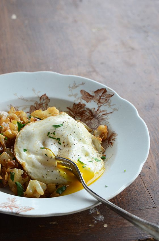 Cauliflower Hash Topped with Fried Egg makes a delicious breakfast!