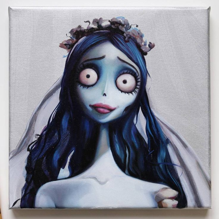 """Emily from Corpse Bride is my contribution for the upcoming """"A night at the Movies"""" exhibition at @penumbragallery in March!!! The whole exhibition is dedicated to Tim Burton movies omg omg 😍😍😍*dying*💀  Direct purchasing inquiries to the gallery! 🎀  PAINTING TIMELAPSE on my youtube channel. Link in bio 💙✨📹  A limited edition of 20 prints are available in my online shop! 🐱"""