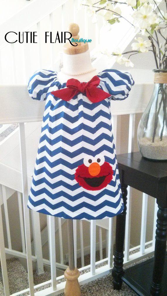 Charming Sesame Street Elmo Girls Peasant Dress, Navy Blue Chevron, perfect for your next event!    Made of soft 100% cotton Designer fabrics, fully