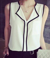 Stylish V-Neck Sleeveless Spliced Chiffon Blouse For Women (WHITE,S) | Sammydress.com Mobile