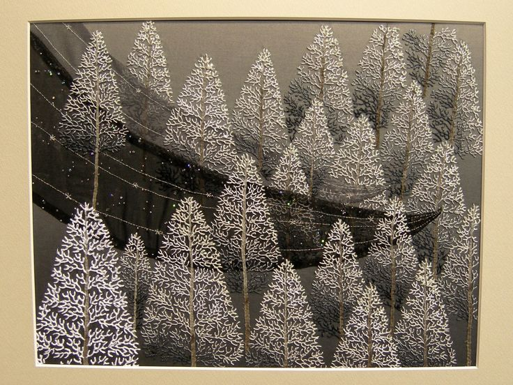 Tokyo Quilt show 2013,  These frostbitten trees earned the maker, Ms Keiko Kimura 2nd prize in the Framed Quilt Award.  All done with the FEATHER stitch.