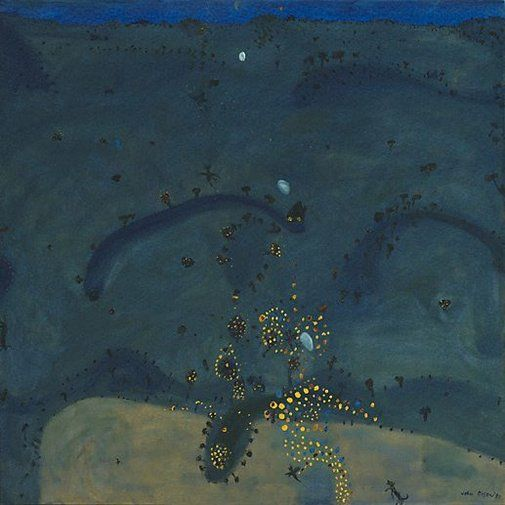 """John Olsen ~ """"Nightfall, when wattle stains the doubting heart"""" (1980) Oil on canvas *Nocturnal landscape Inspired by the poem 'Terra Australis' by Australian poet James McAuley* via Art Gallery NSW 