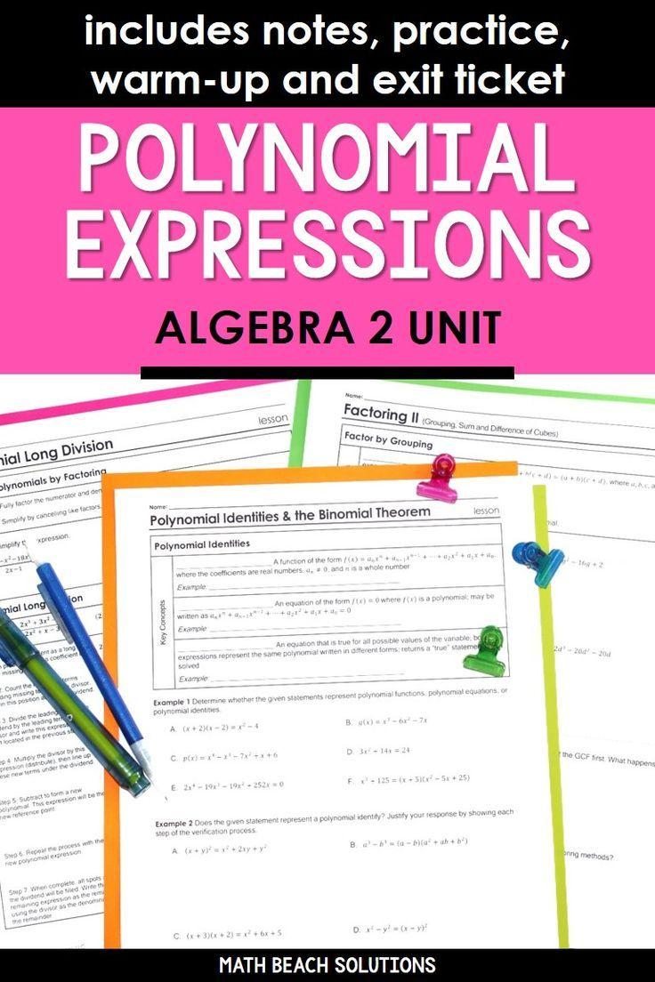 Unit 2 Polynomial Expressions Algebra 2 Curriculum Polynomials Simplifying Algebraic Expressions Simplifying Expressions [ 1104 x 736 Pixel ]