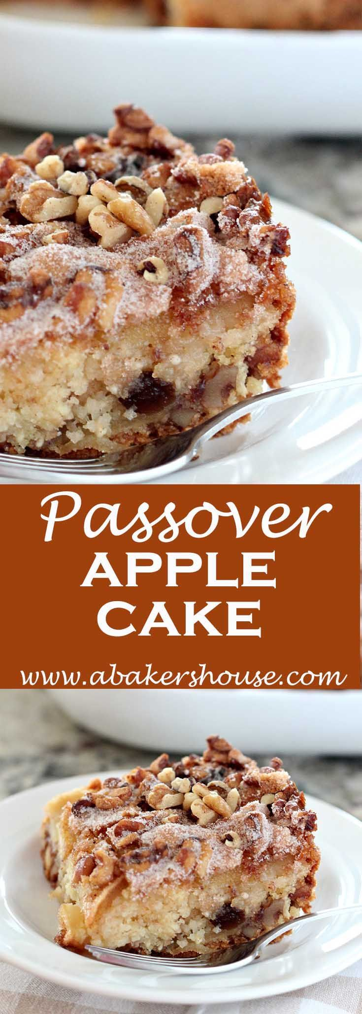 This easy apple cake could start your day for breakfast, be served as an afternoon snack or even show up on a dessert table at Passover or any time of year. The recipe was found here and is Arthur Schwartz's recipe for Passover Pareve Apple Cake.