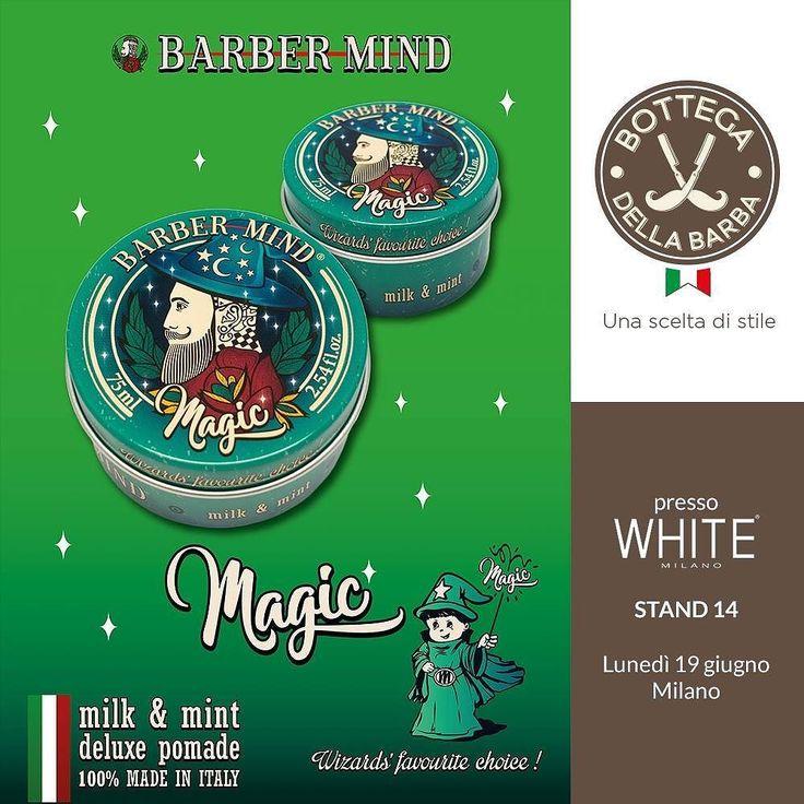 Siamo davvero orgogliosi di essere i primi in assoluto a presentare una grandissima novità per il mondo Barber . Arriva Magic di @barber_mind_deluxe_products la prima Pomade dedicata ai bambini dalla magica profumazione di latte e menta ! Oggi la presentazione ufficiale al White Show presso lo stand n.14 di Bottega della Barba. Da non perdere! #BottegadellaBarba #Magic #novità #news #barberworld #BarberMind #pomades  #pomade #hair #haircare #Barber #Barberlove #beard #beardlovers #top…