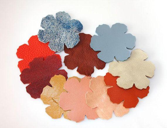 20 pcs  leather flowers by ramonaignat on Etsy