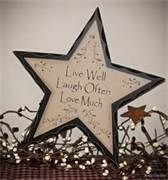Love the rustic country star decoration..... LIVE WELL....LAUGH OFTEN.....L<3VE MUCH!