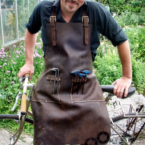 Leather Work Apron for Bike Mechanic or General Tinkerer