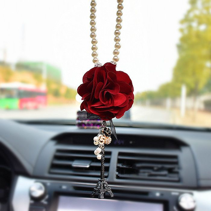 Car Mirror Charm Flower And Eiffel Towel Rear View Mirror Pendant