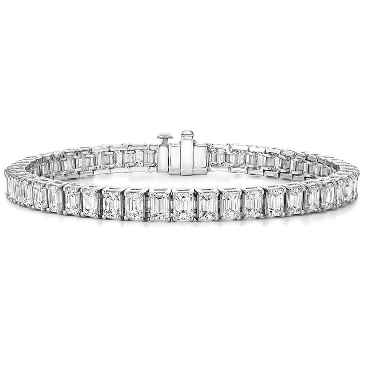 Platinum emerald diamond cut bracelet from Brilliant Earth