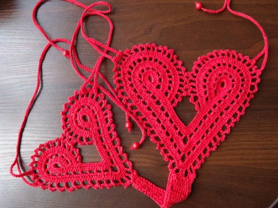 Hand crochet heart string thong panties by sinchukss on Etsy, $13.00