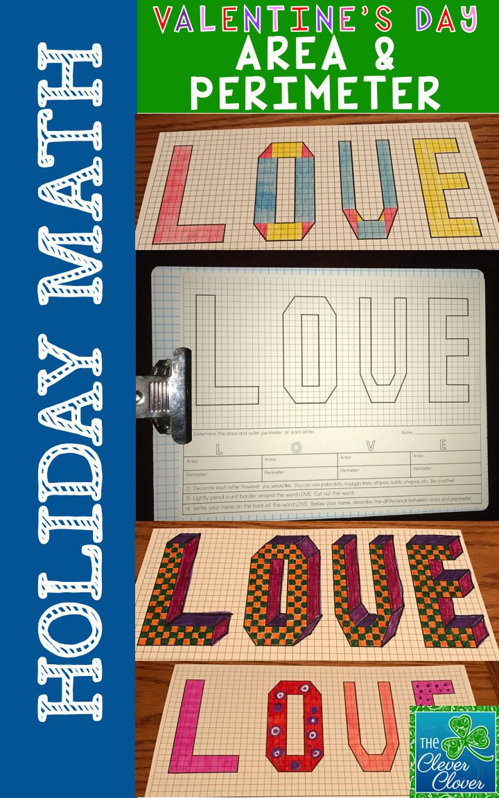 AREA and PERIMETER - FREEBIE This lovely Valentine's Day activity has students calculate the area and perimeter of the word LOVE.  Students follow a set of directions at the bottom of the page.
