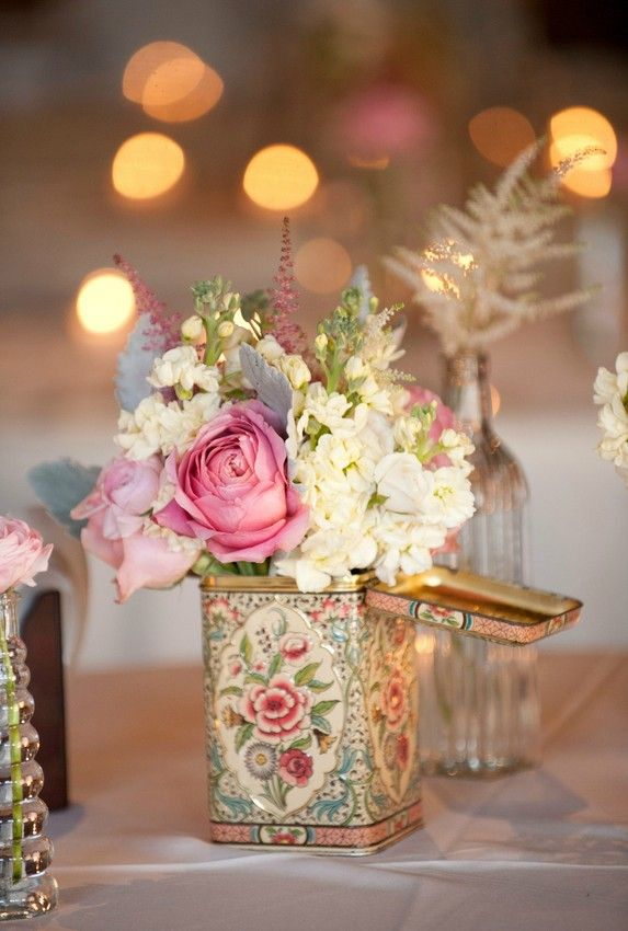 florals in vintage tin