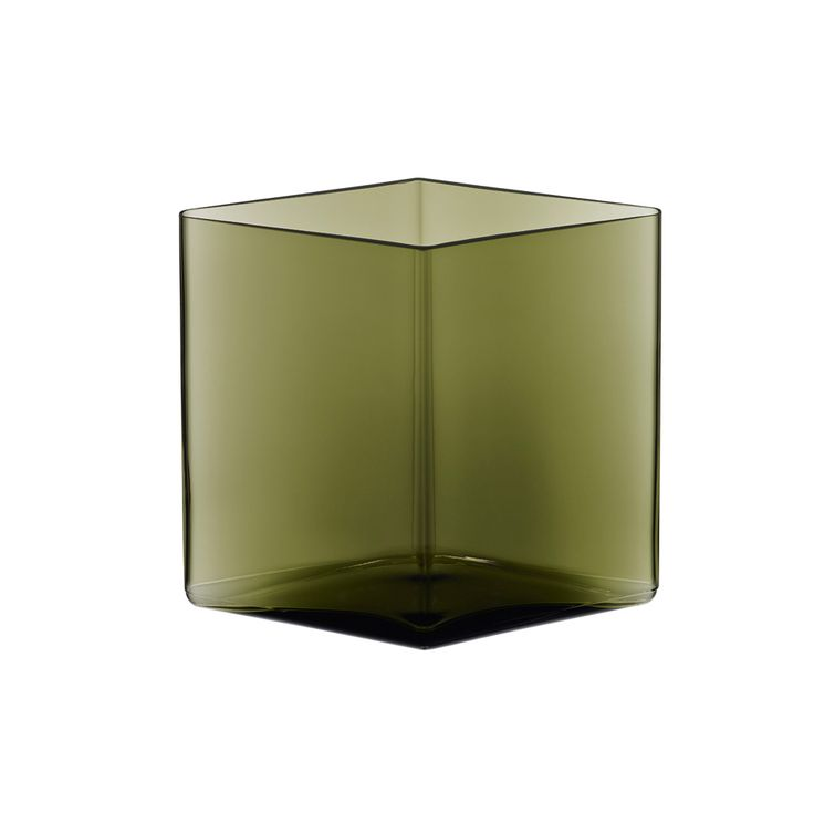 Iittala Ruutu Moss Green Vase 20.5x18cm. The simple shape of Ruutu vases allows owners to arrange flowers and vases in groups and encourages collecting.