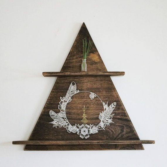 Hanging shelf, wood display shelf, boho wall decor, neutral home decor, mineral wood display, triangle wood shelf