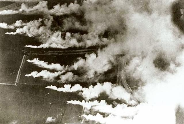 The first poison gas, chlorine,came on 22 April 1915, at the start of the Second Battle of Ypres. Around 5 pm, sentries posted among the French and Algerian troops noticed a curious yellow-green cloud drifting slowly towards their line. It signalled the first use of chlorine gas on the battlefield.  The effects were severe.  Within seconds of inhaling its vapour it destroyed the victim's respiratory organs, bringing on choking attacks.  (For a memoir of the first gas attack click here.)