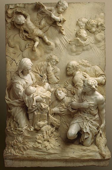 'Adoration of the Shepherds' marble sculpture by Giovanni Battista Foggini    c.1675 marble sculpture  via  Plum leaves