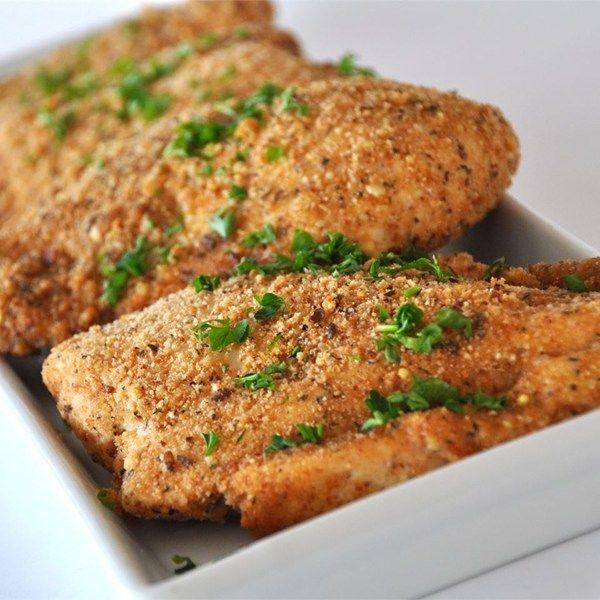 Κοτόπουλο φιλέτο με κρούστα παρμεζάνας στο φούρνο