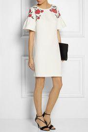 ALICE by TemperleyPoppy Story silk-appliquéd crepe mini dress