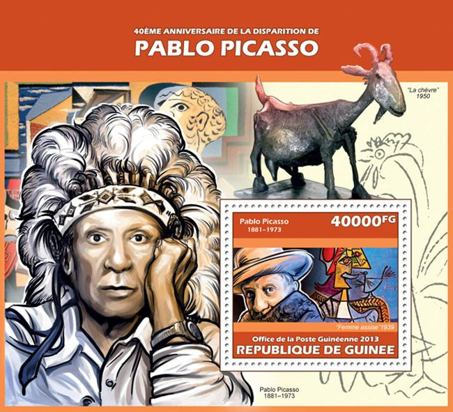 """GU 13617 b40th anniversary of the death of Pablo Picasso, (""""Sitting woman"""")."""