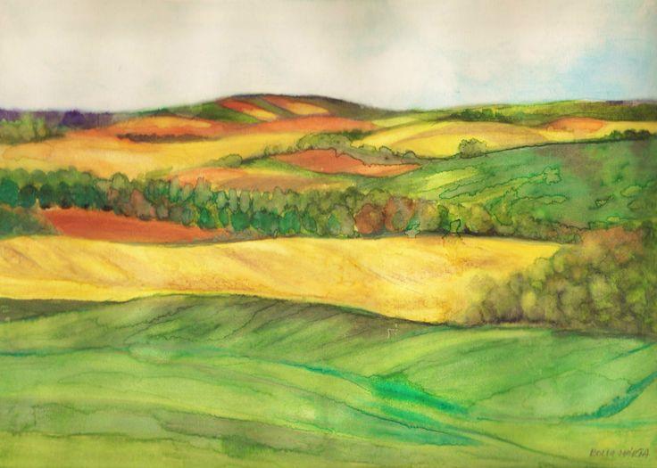 Danubian hills - Dunántúli dombok - akvarell,- 21 x 29 cm - By Márta Bolla - Hungary