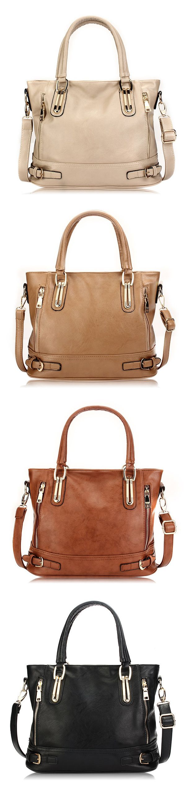 US$29.98  Women Vintage Side-Zipper Bucket Shoulder Bag Ladies Brown Handbag