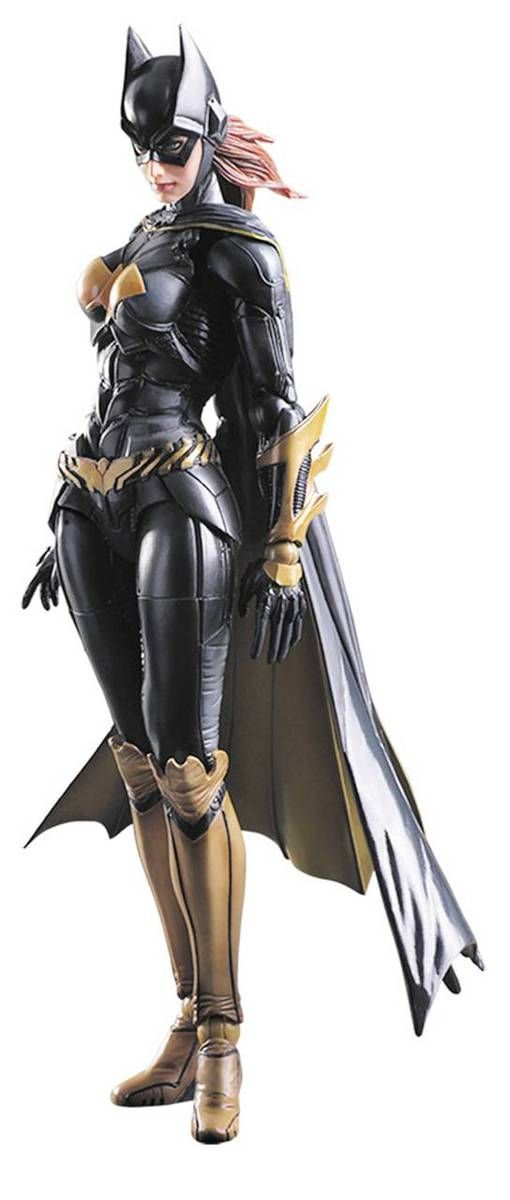 Derived from the popular Batman: Arkham Knight video game, Batgirl's long hair is reproduced using flexible materials and ratcheted jointing, while the three-part construction of her cape enables elegant movement and posing. The Batman Arkham Knight Batgirl Play Arts Kai Action Figure measures approximately 10-inches tall x 4-inches wide x 2 1/4-inches long. It comes with a display stand and is packaged in a window display box. With gadgets unique to her character and a variety of…